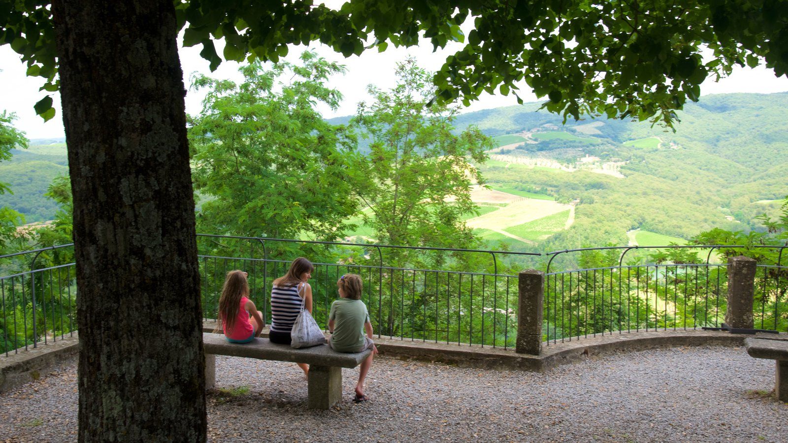 Radda in Chianti showing views as well as a family