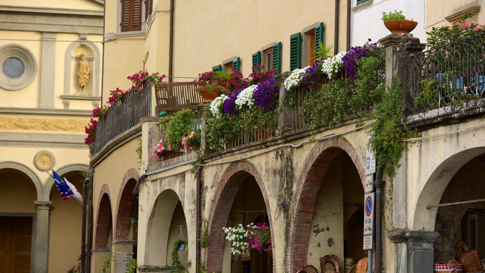 Greve in Chianti showing a small town or village and flowers