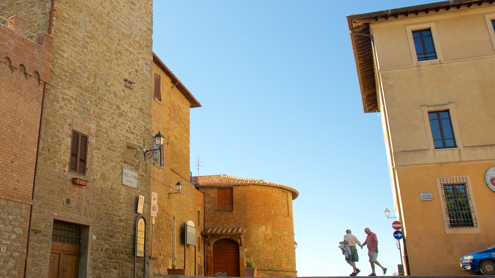Panicale showing heritage architecture as well as a couple