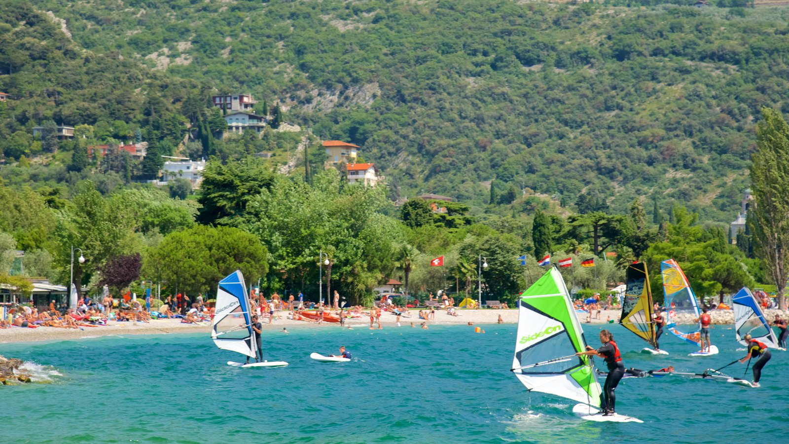 Nago-Torbole featuring general coastal views, windsurfing and a sandy beach