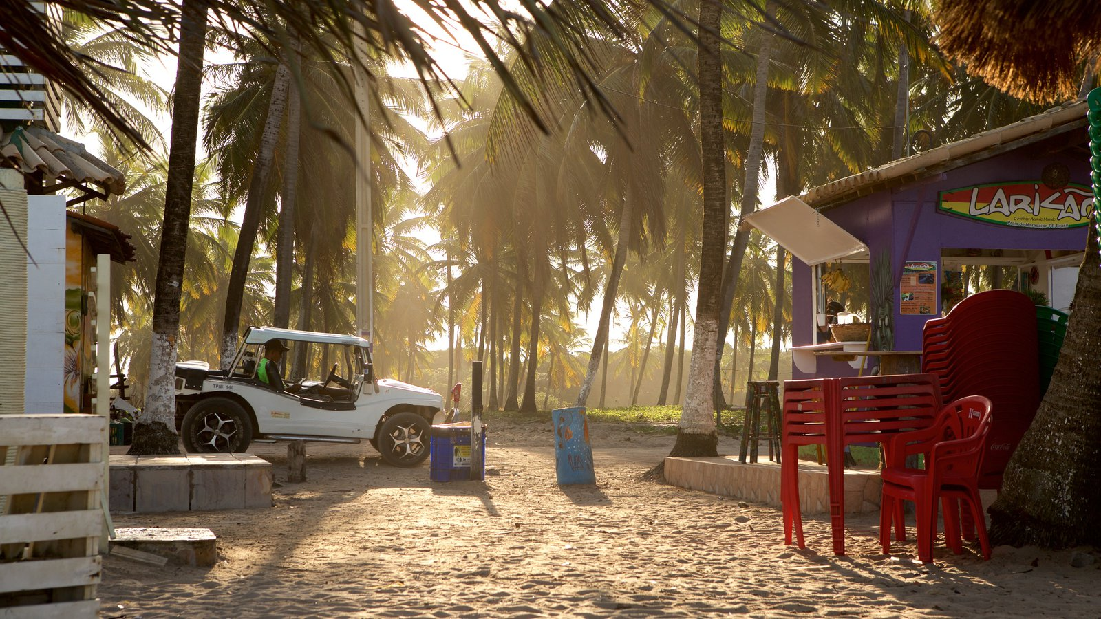 Praia de Maracaípe caracterizando um pôr do sol, uma cidade litorânea e uma praia