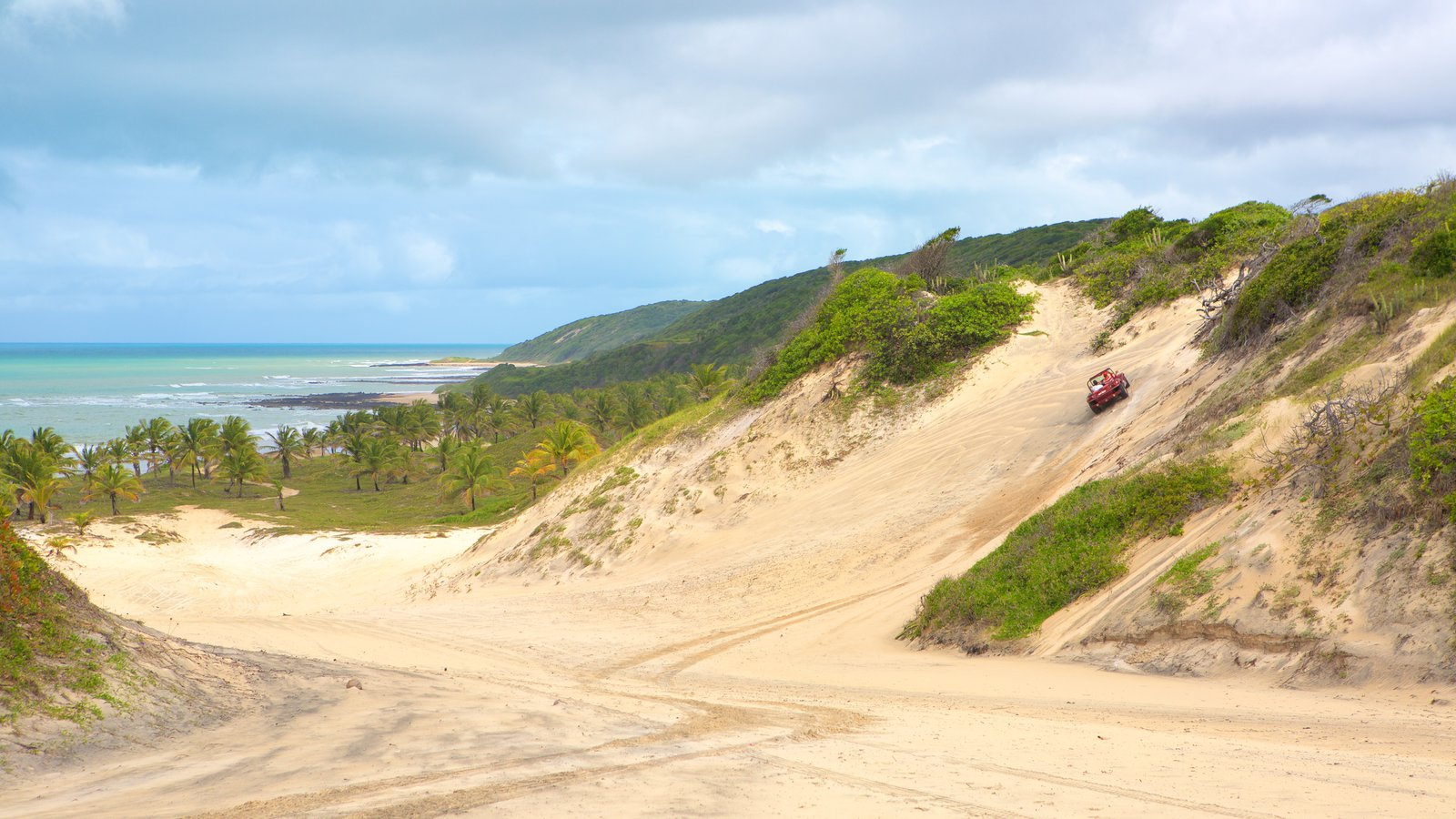 Baía Formosa caracterizando paisagens litorâneas e uma praia de areia