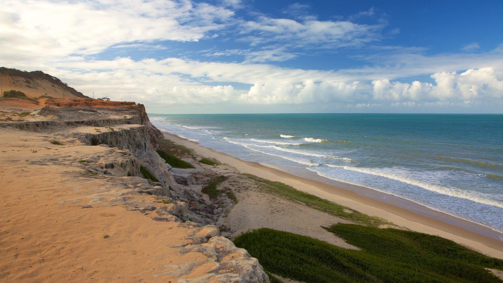 Pipa mostrando uma praia de areia, litoral acidentado e paisagem