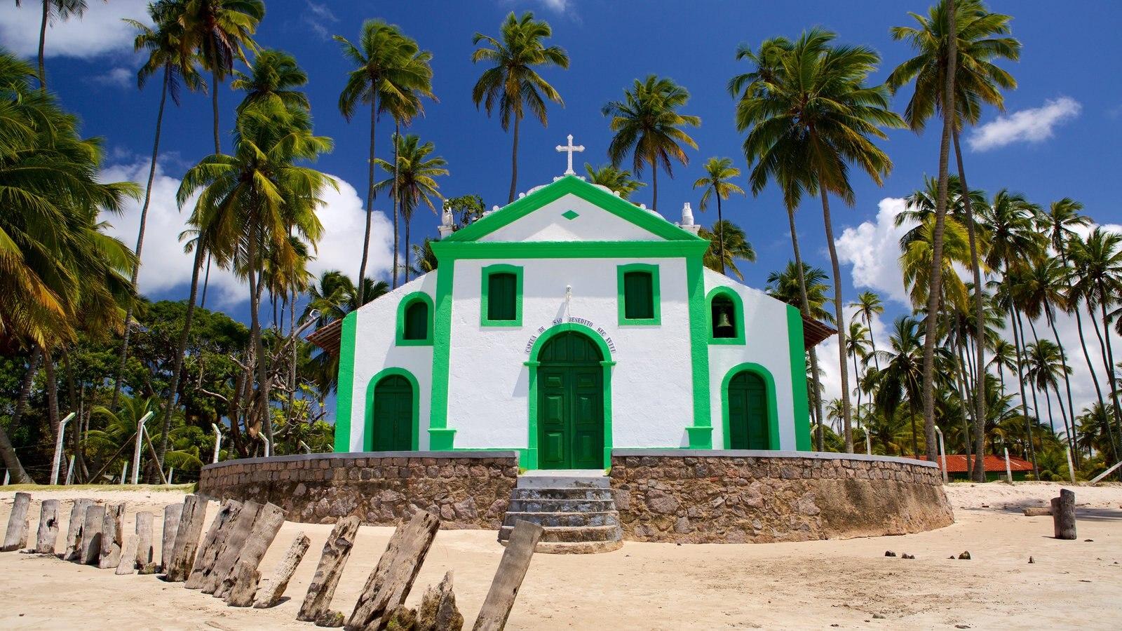 Tamandaré mostrando uma praia de areia, uma igreja ou catedral e cenas tropicais