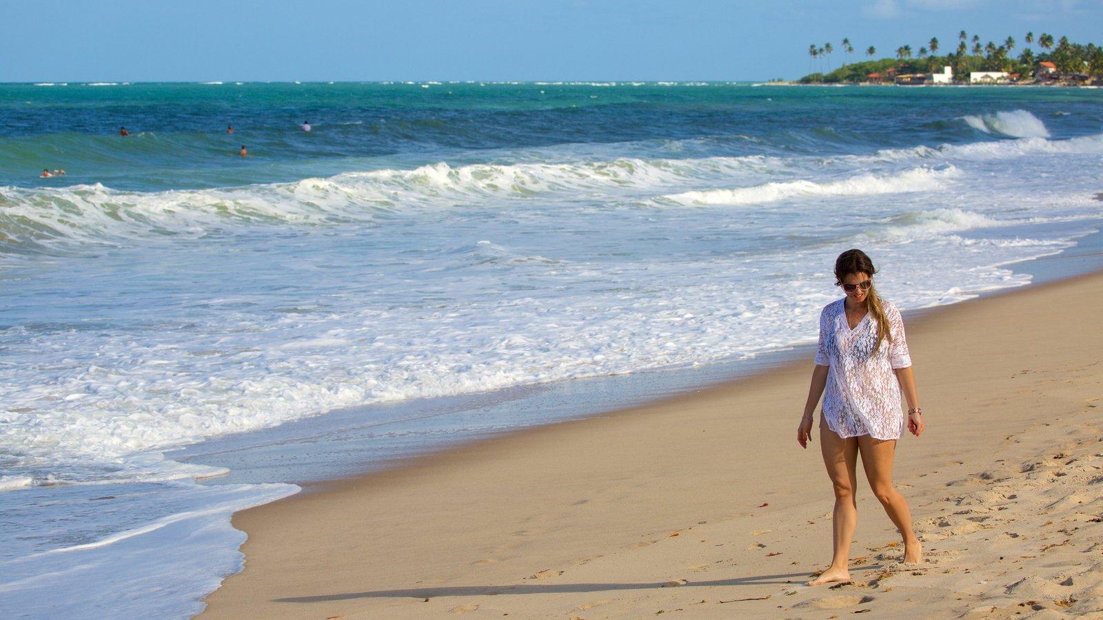 Praia de Maracaípe que inclui uma praia de areia, ondas e paisagens litorâneas