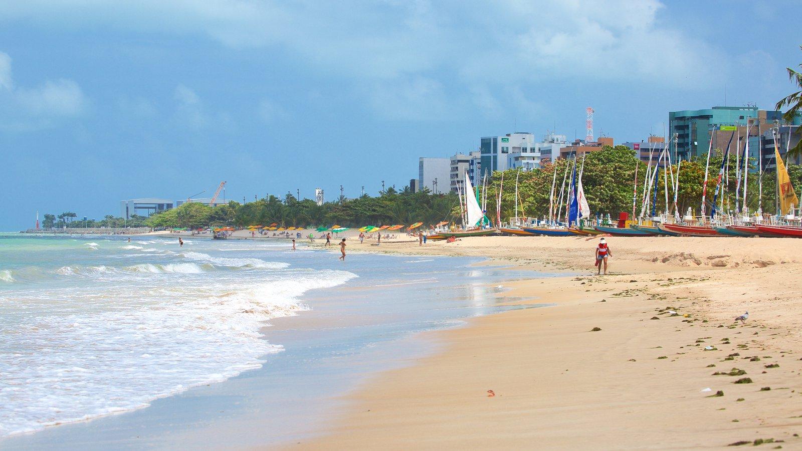 Praia de Pajuçara mostrando vela, uma praia e paisagens litorâneas