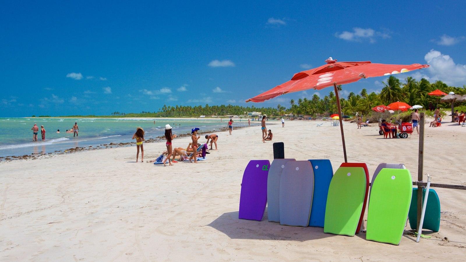 Praia de Paripueira caracterizando paisagens litorâneas, esportes aquáticos e uma praia de areia