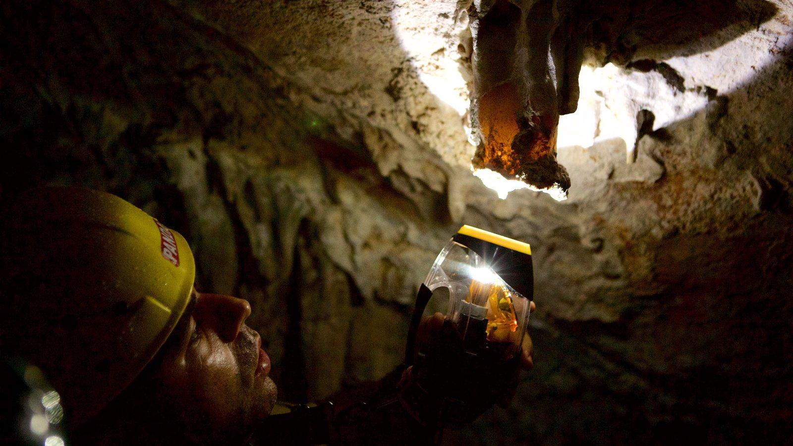 Grutas de São Miguel que inclui cavernas assim como um homem sozinho
