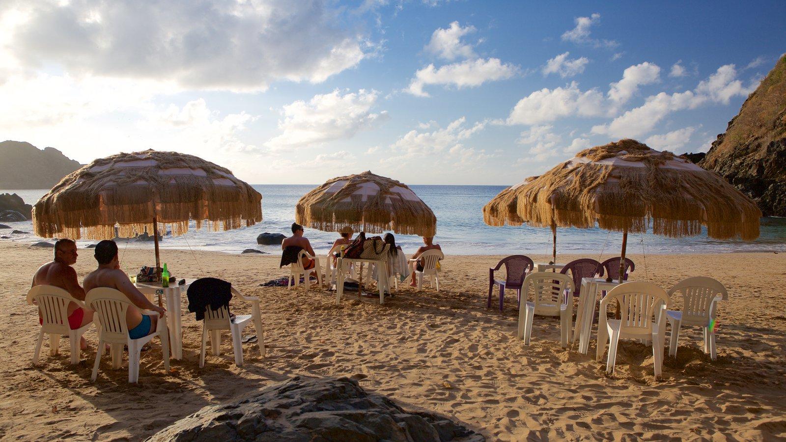 Praia do Cachorro que inclui uma praia de areia, paisagens litorâneas e um hotel de luxo ou resort