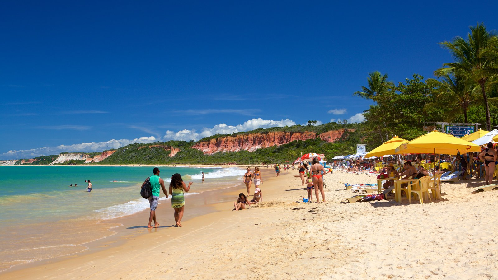 Praia de Pitinga que inclui cenas tropicais, uma praia de areia e paisagens litorâneas