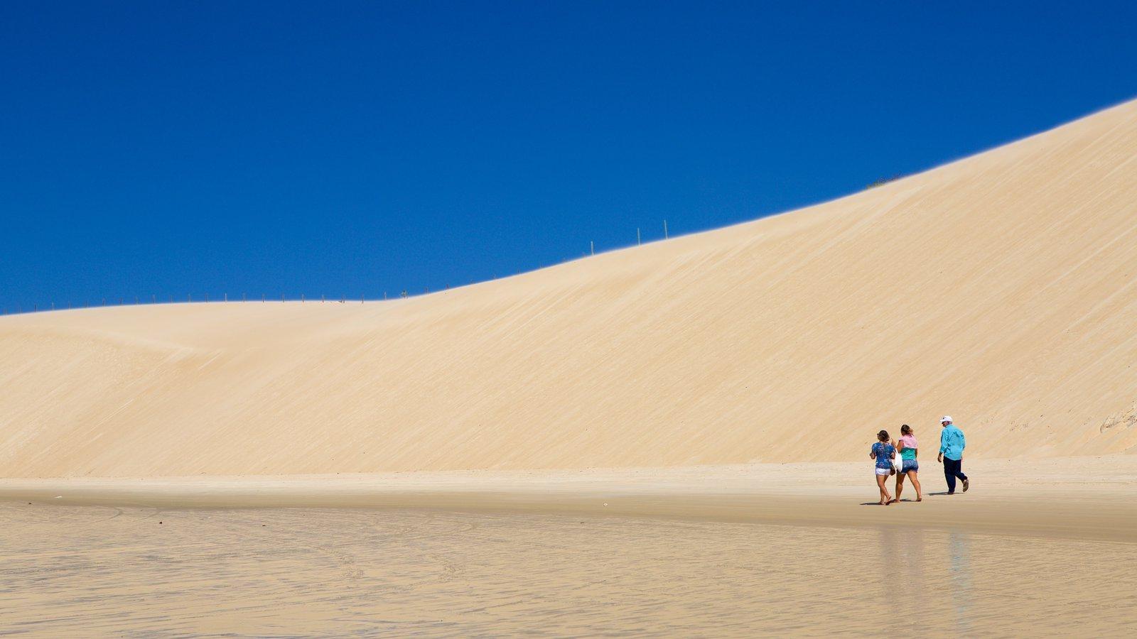 Praia de Genipabú mostrando paisagens litorâneas e uma praia assim como um pequeno grupo de pessoas