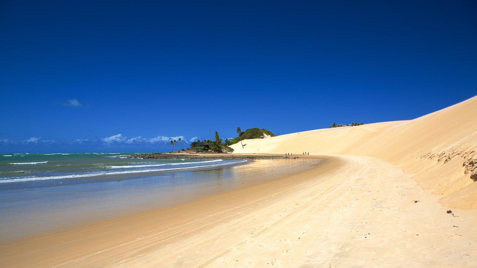 Praia de Genipabú que inclui paisagens litorâneas e uma praia