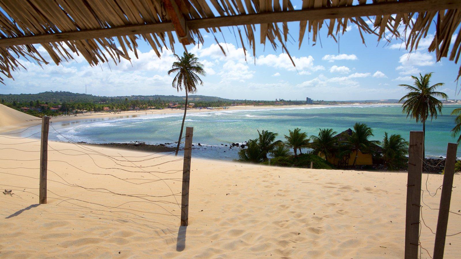 Praia de Genipabú que inclui paisagens litorâneas, uma praia de areia e cenas tropicais