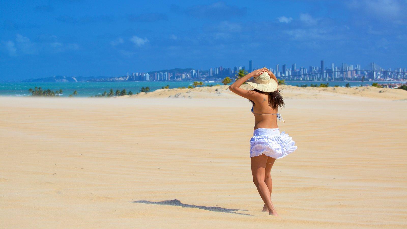 Praia de Genipabú que inclui linha do horizonte, uma praia e paisagens litorâneas