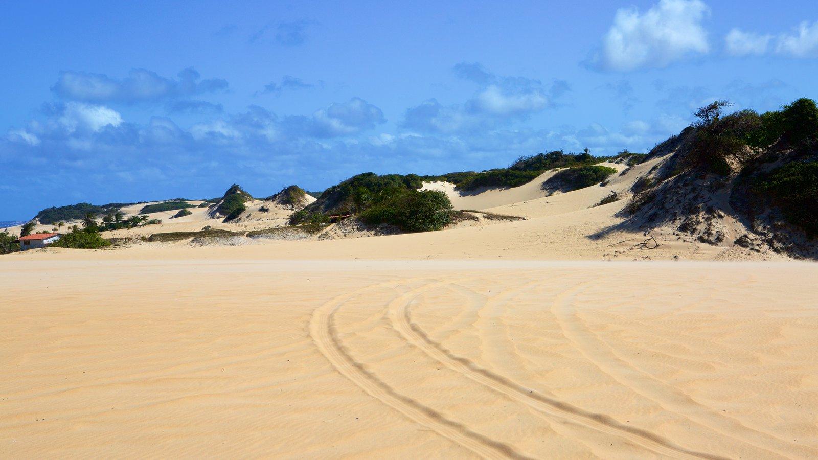 Praia de Genipabú caracterizando paisagens litorâneas e uma praia de areia