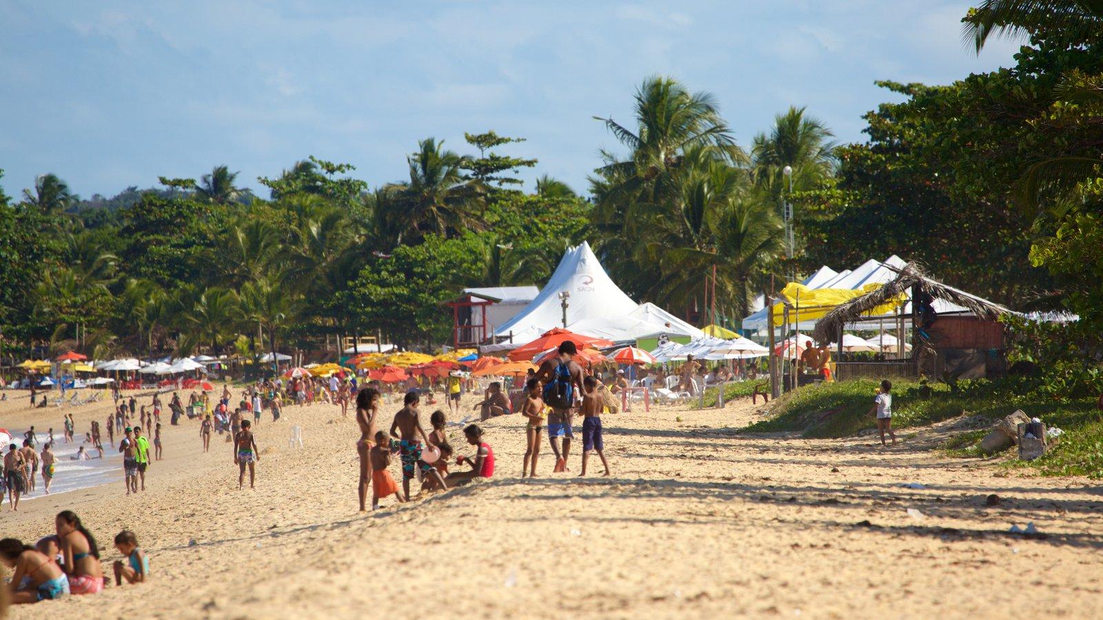 Praia de Taperapuã mostrando paisagens litorâneas e uma praia assim como um grande grupo de pessoas