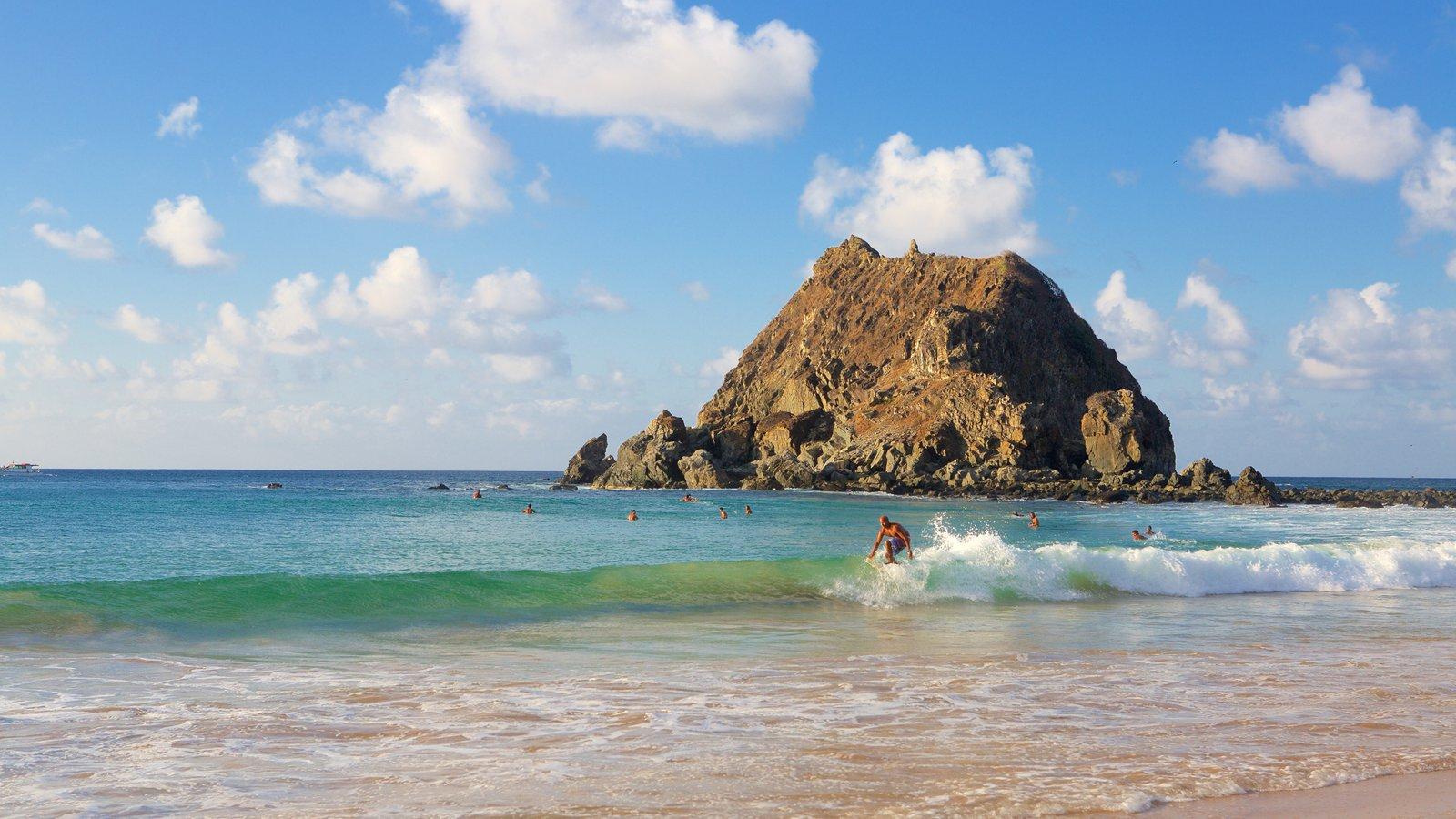Praia da Conceição mostrando natação, surfe e ondas