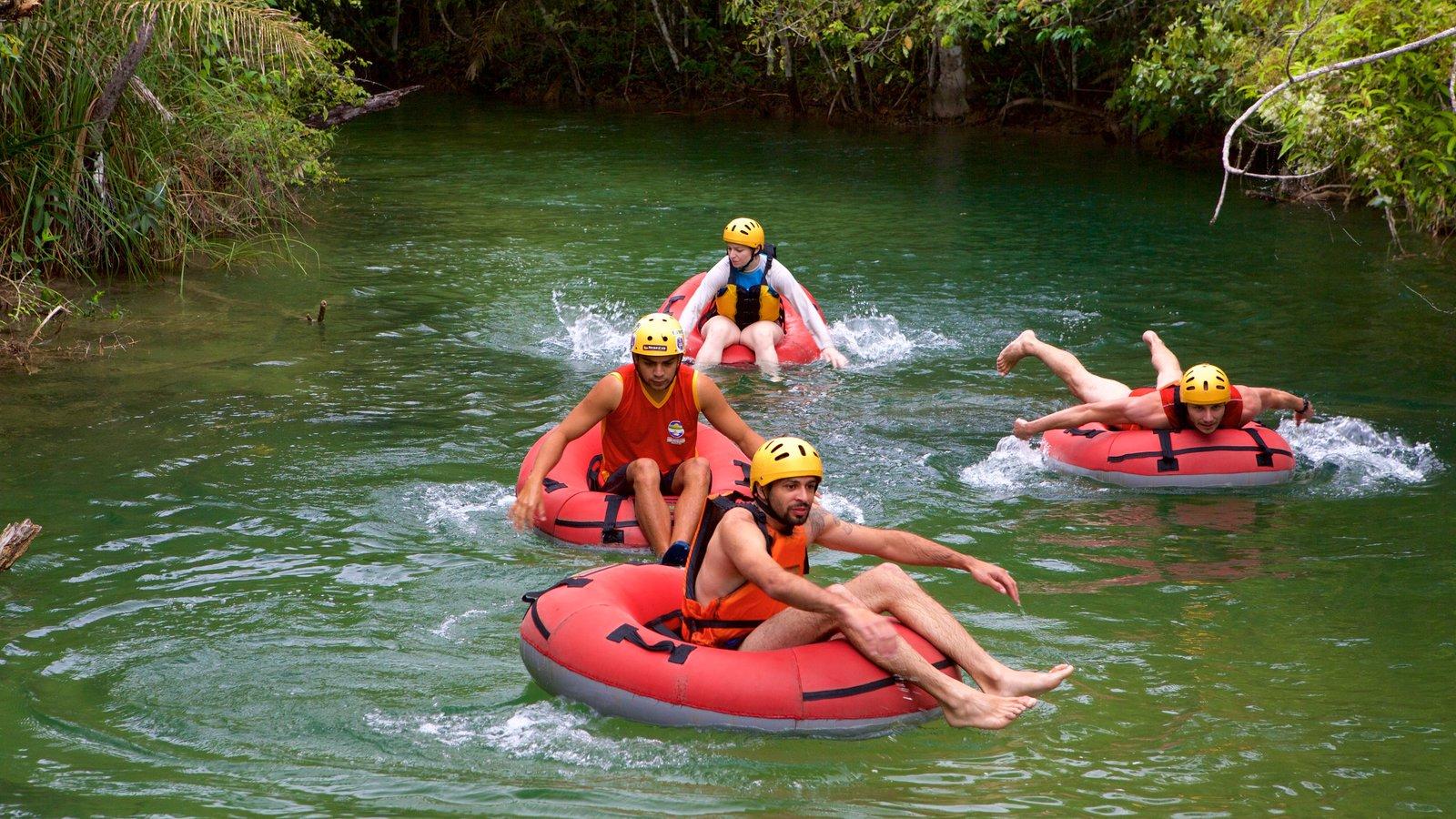 Parque Ecológico Rio Formoso que inclui esportes aquáticos e um rio ou córrego assim como um pequeno grupo de pessoas