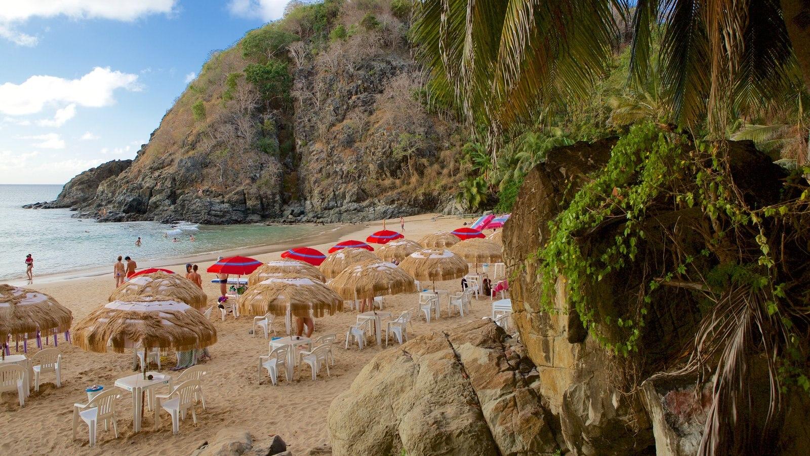 Praia do Cachorro que inclui paisagens litorâneas, uma praia e um hotel de luxo ou resort