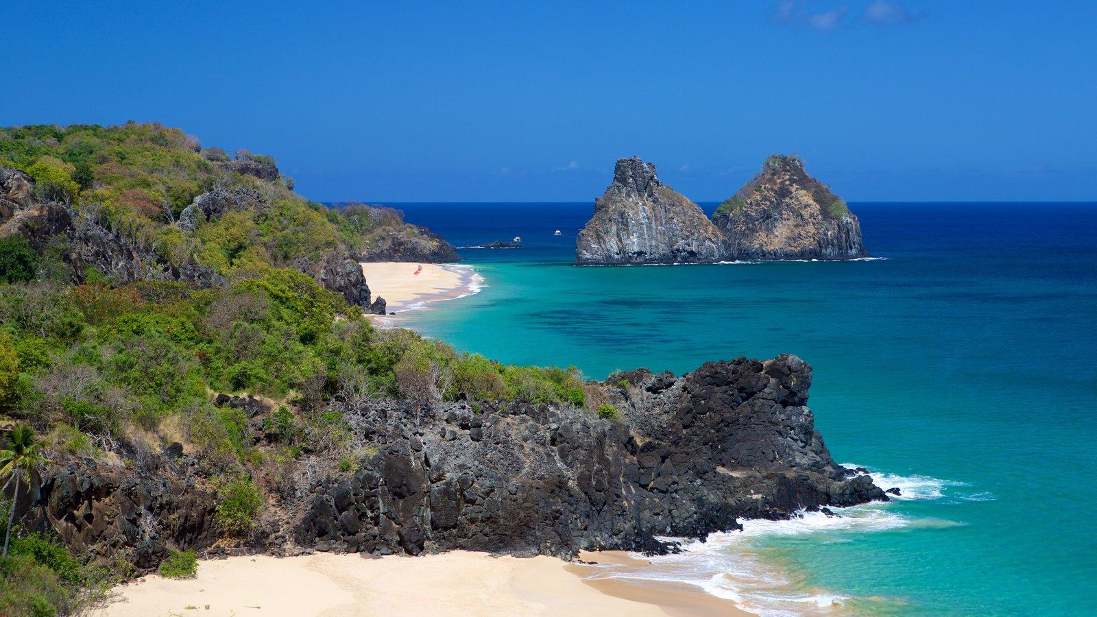 Morro Dois Irmãos mostrando imagens da ilha, uma praia e litoral rochoso