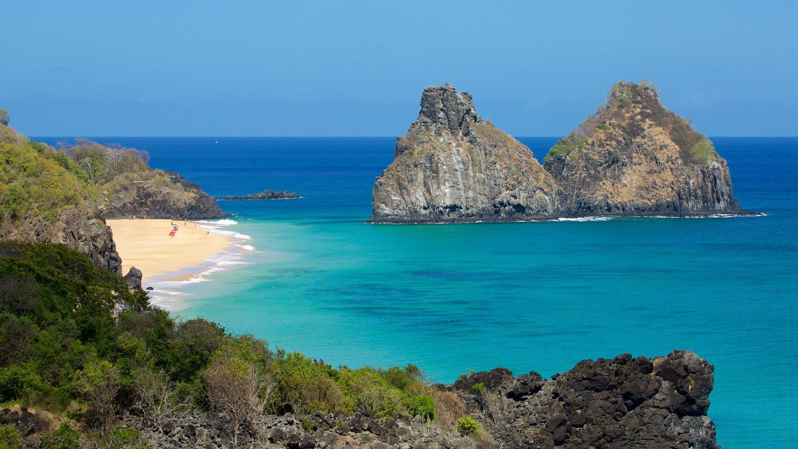 Morro Dois Irmãos mostrando litoral rochoso, uma praia e imagens da ilha