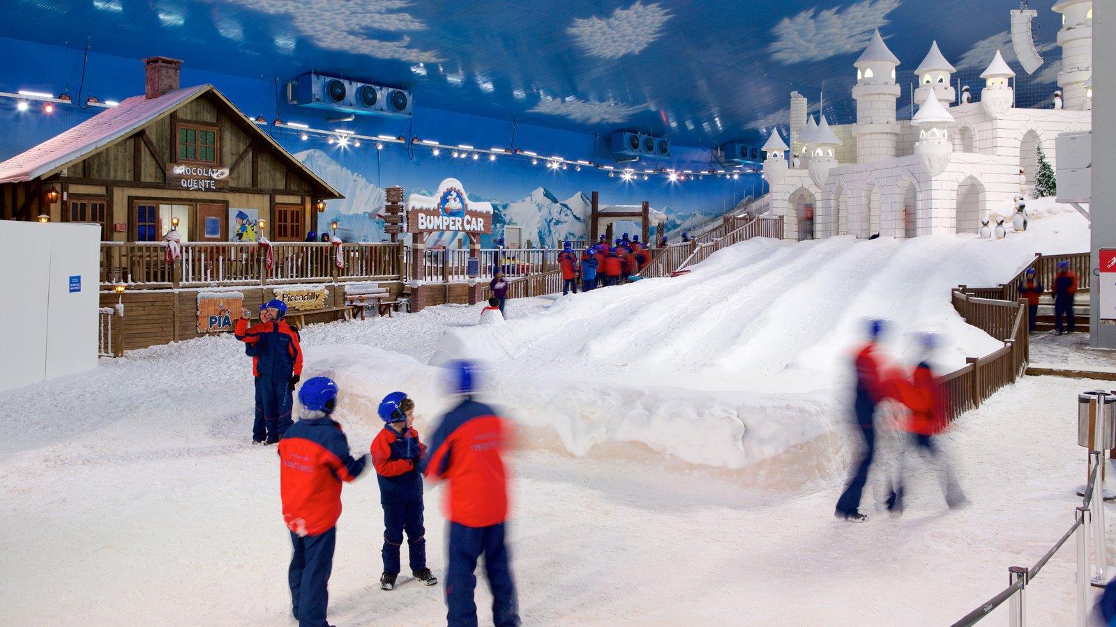 Gramado caracterizando neve, vistas internas e snowtubing