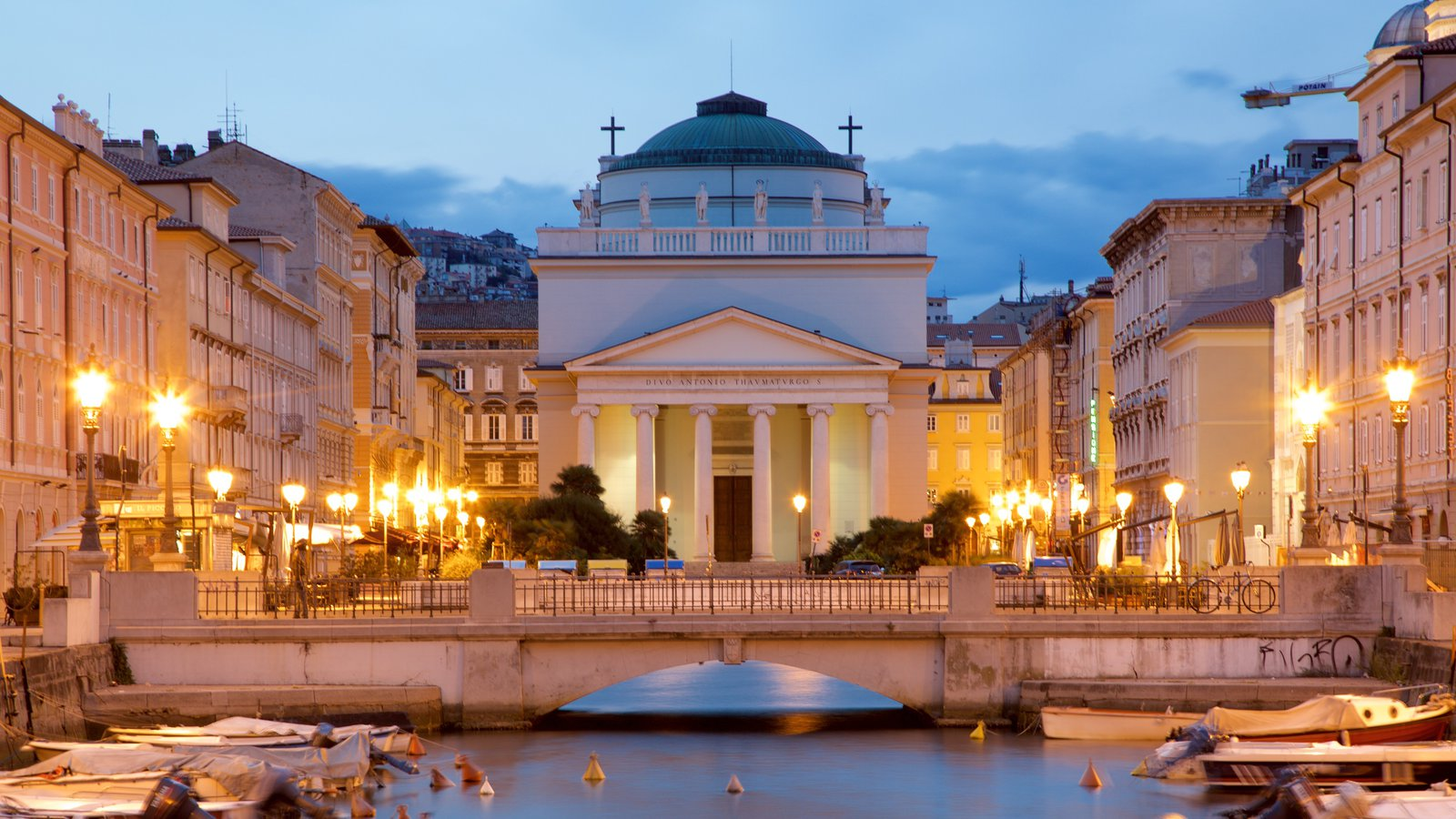Trieste which includes a river or creek, a church or cathedral and boating