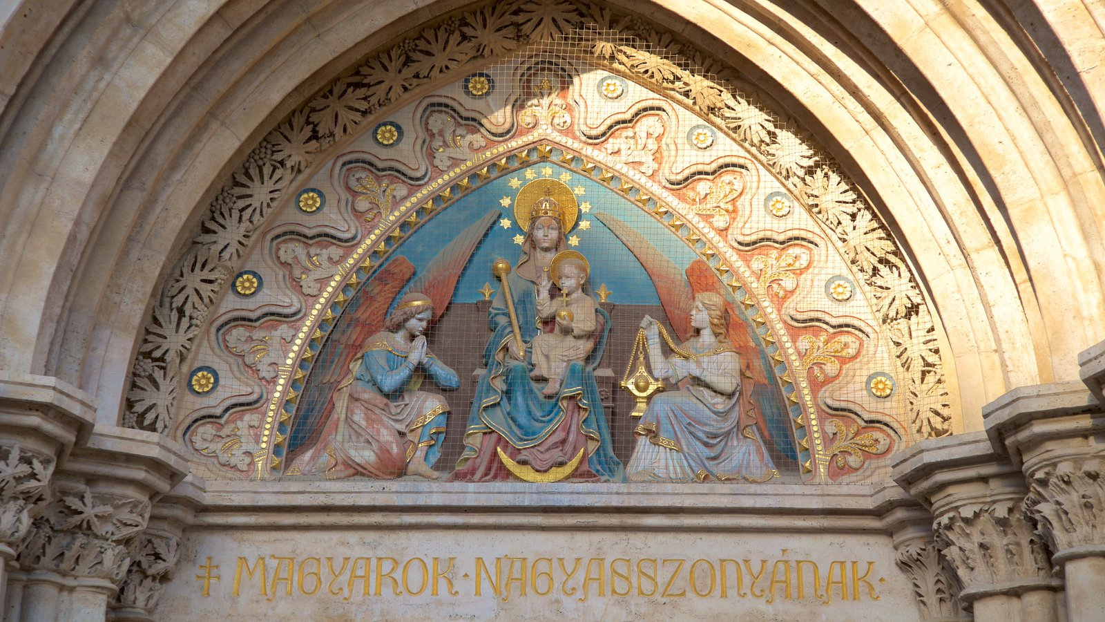 Matthias Church showing heritage architecture, religious aspects and signage