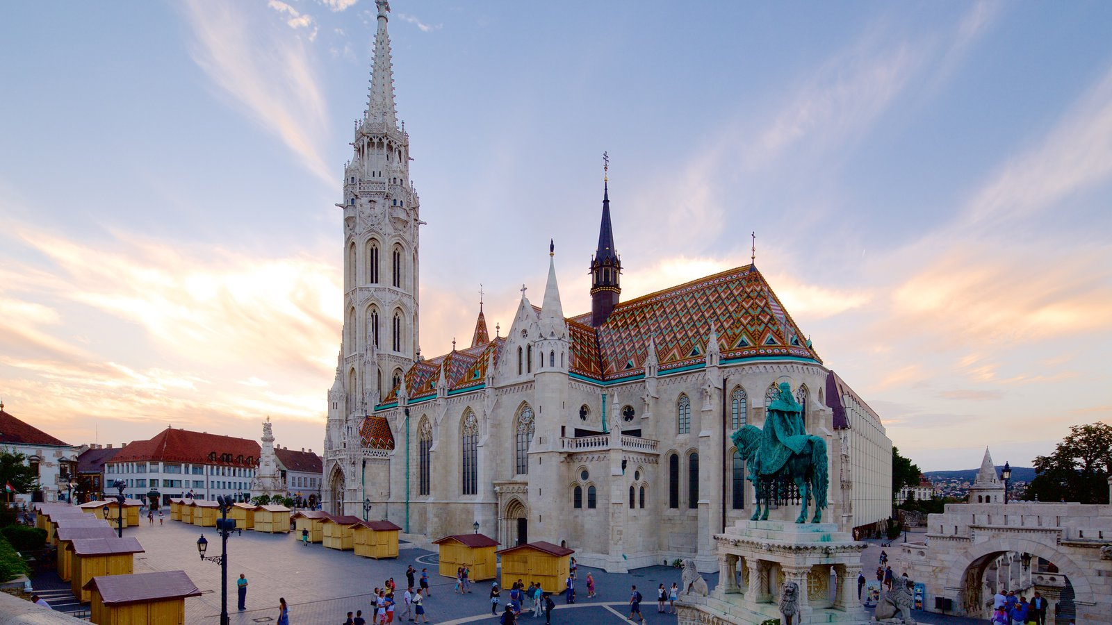 Matthias Church which includes heritage architecture, a church or cathedral and a sunset