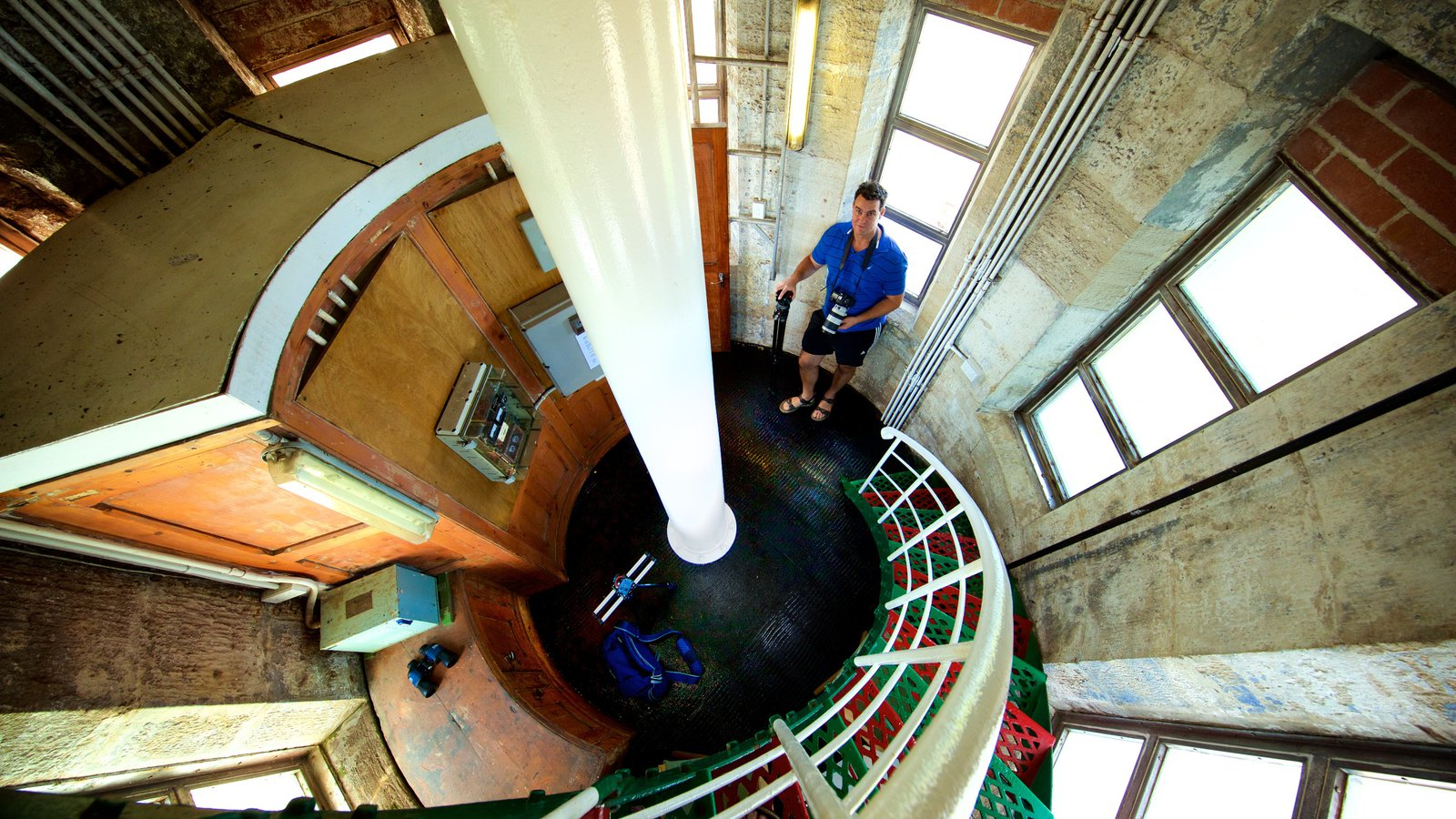 Cape Leeuwin Lighthouse featuring interior views as well as an individual male