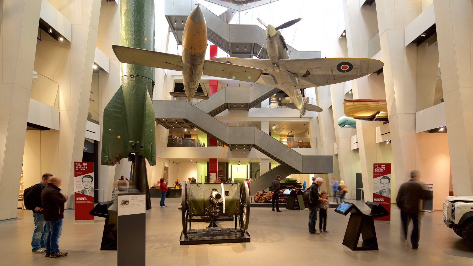Imperial War Museum showing interior views as well as a small group of people