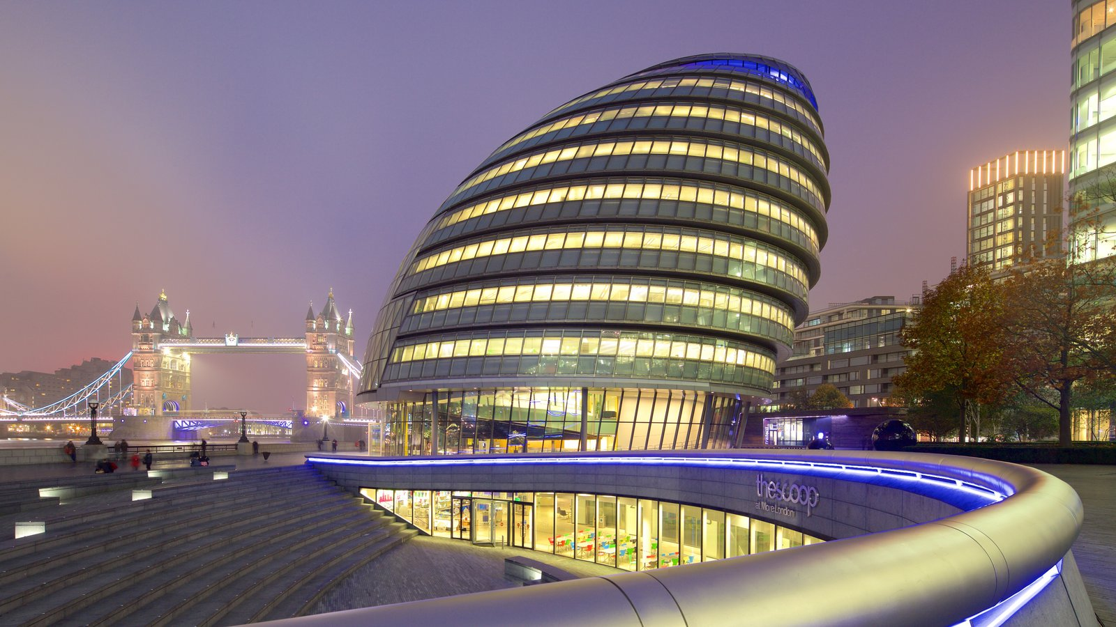 London City Hall showing night scenes, heritage architecture and modern architecture