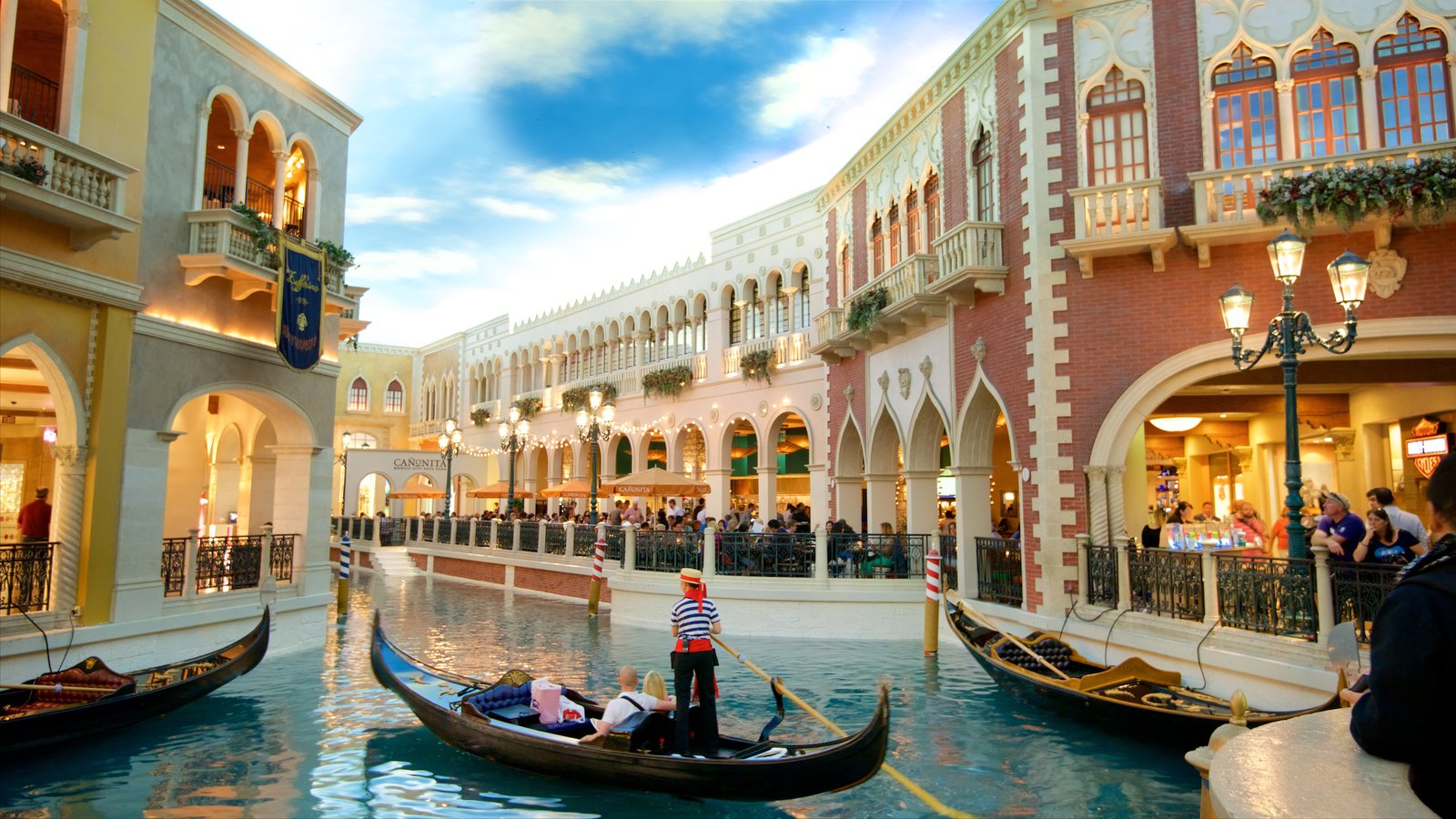 Grand Canal Shoppes which includes a casino, watersports and interior views