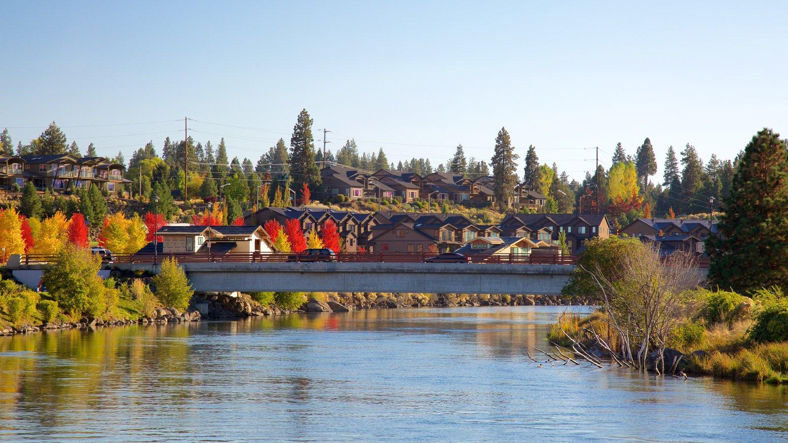 Old Mill District ofreciendo un río o arroyo y un puente