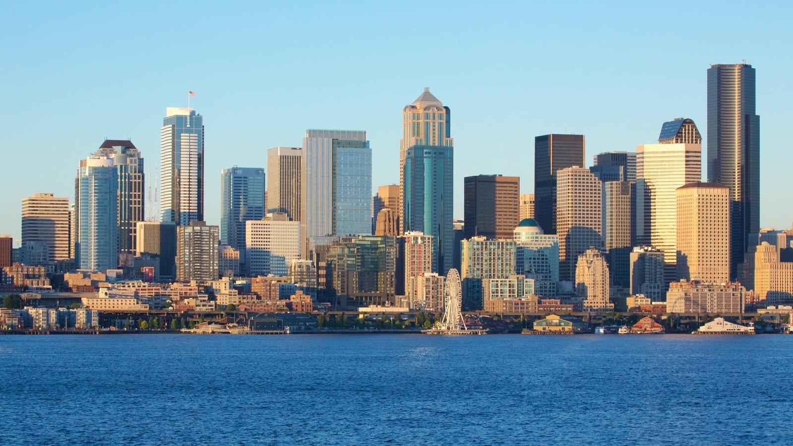 Seattle caracterizando distrito comercial central e paisagens litorâneas