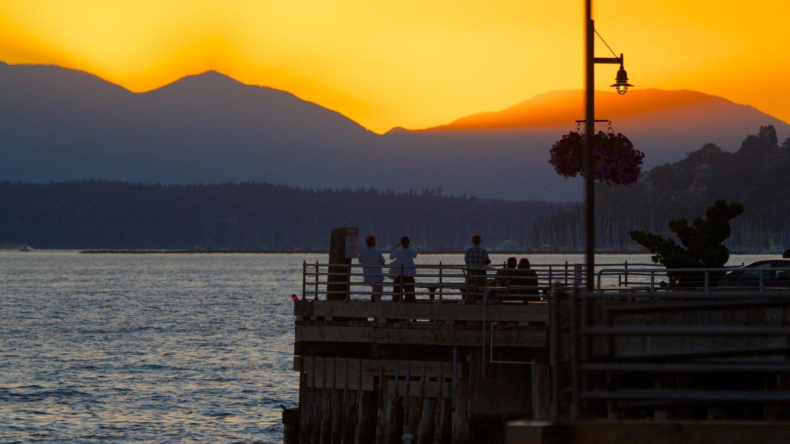 Seattle que inclui montanhas, paisagens litorâneas e um pôr do sol