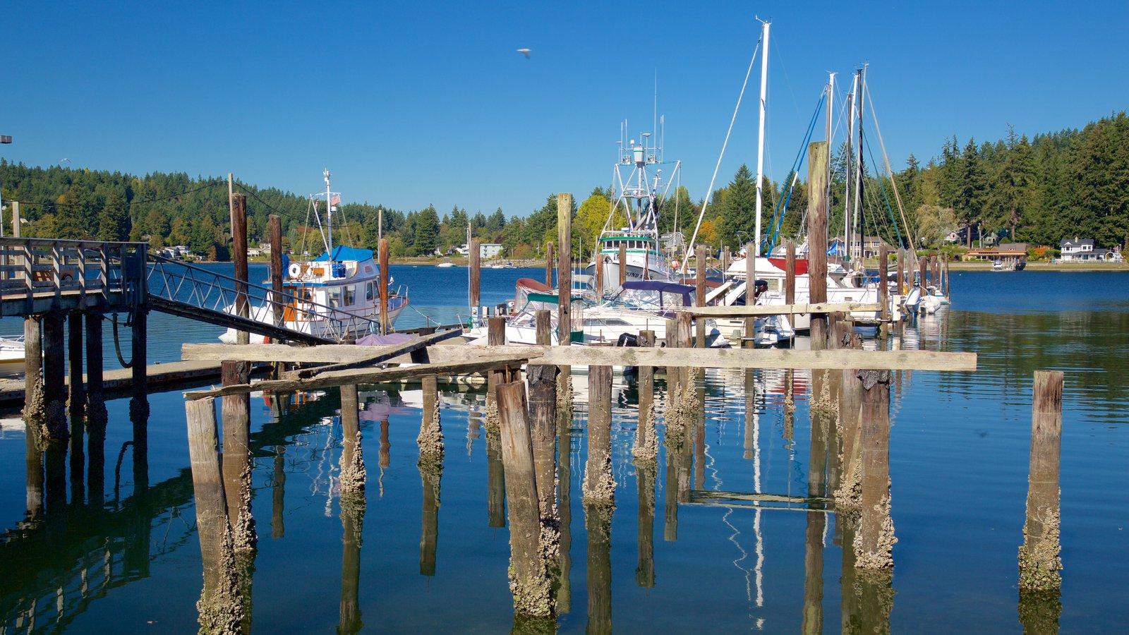 Gig Harbor que inclui uma baía ou porto, paisagens litorâneas e uma marina