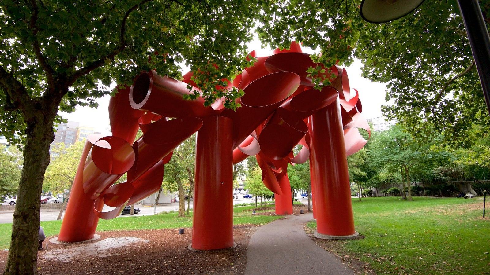 Queen Anne mostrando arte ao ar livre e um parque
