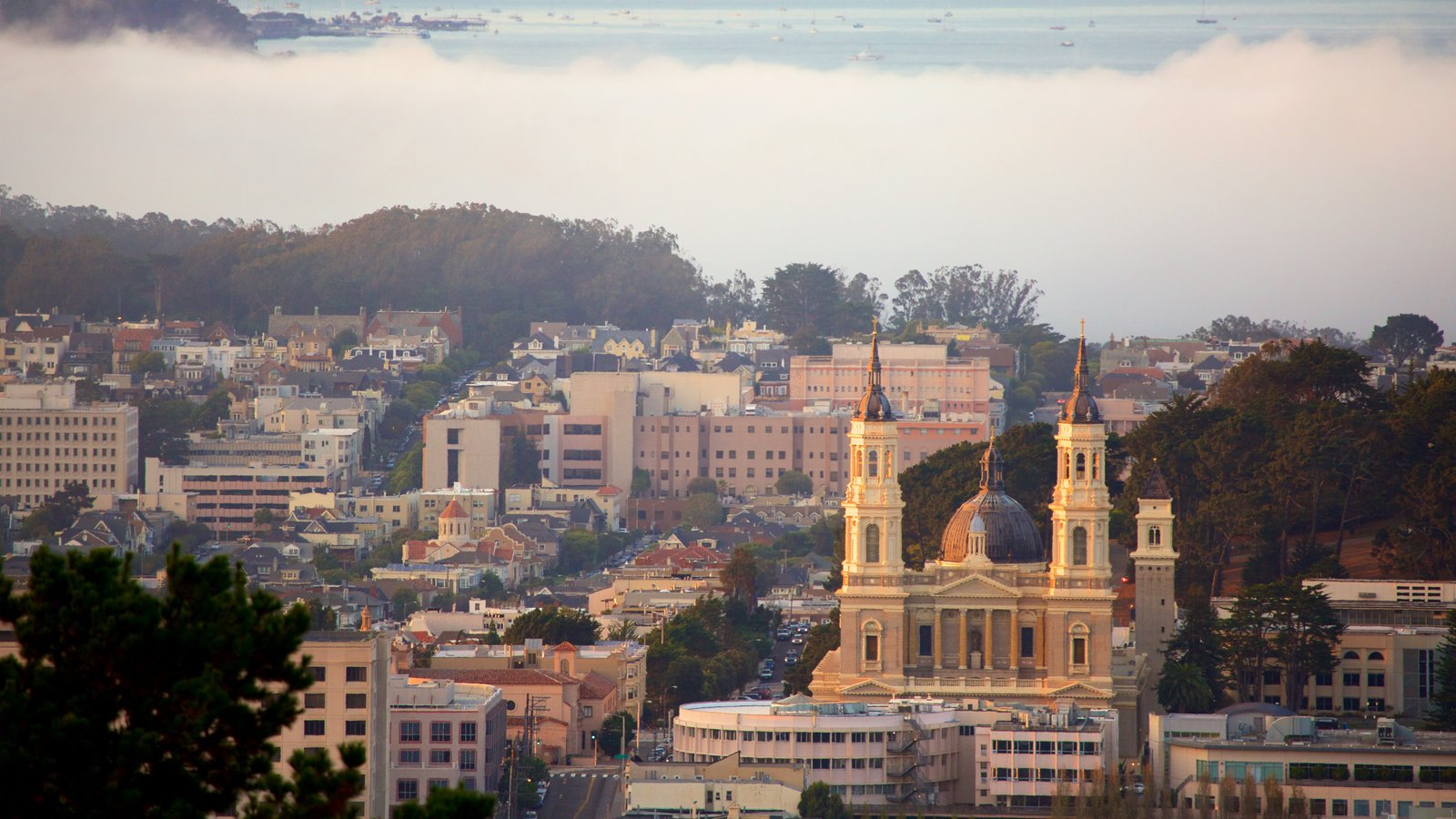 Twin Peaks caracterizando neblina e uma cidade
