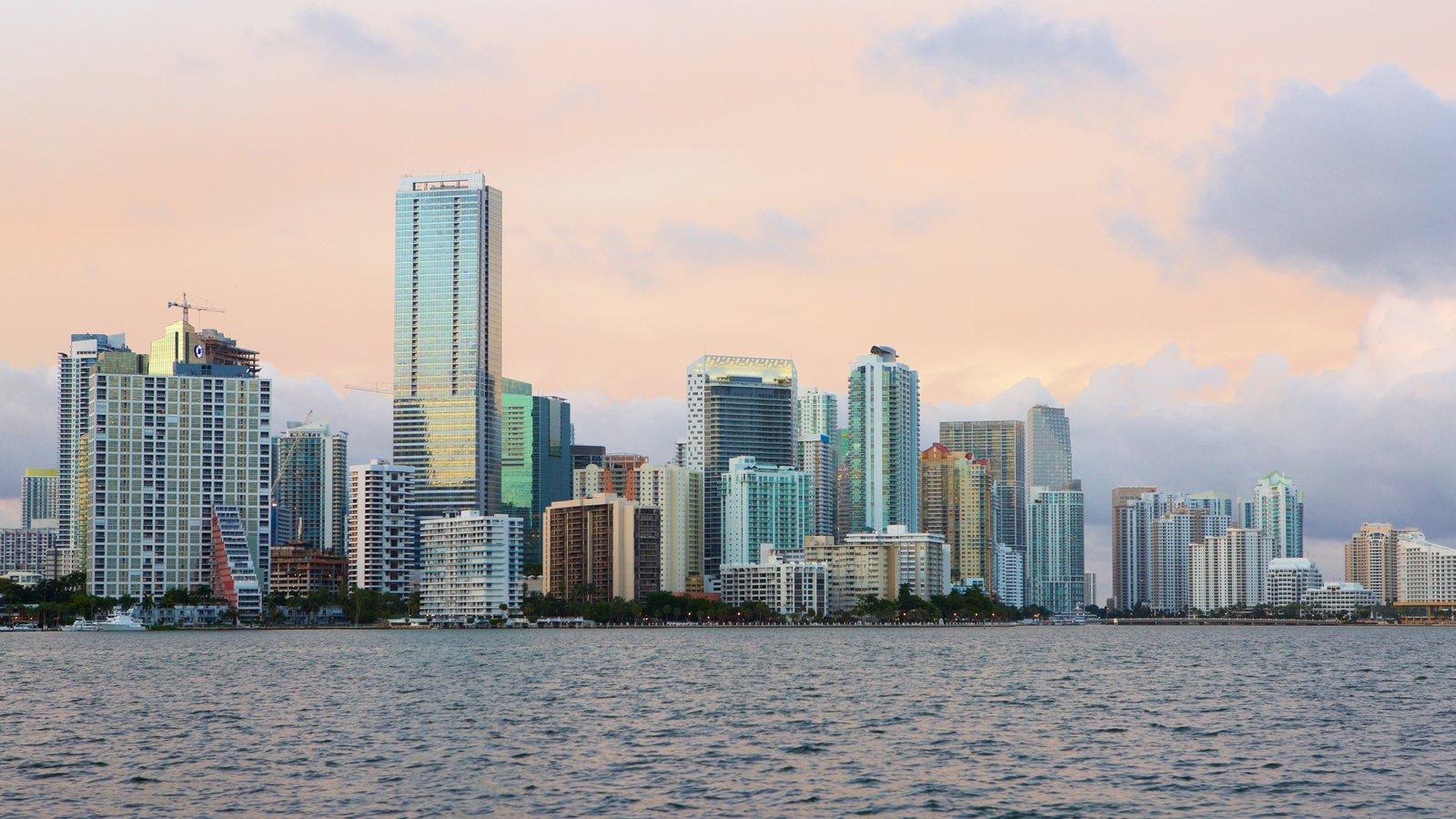 Miami mostrando linha do horizonte e um lago ou charco