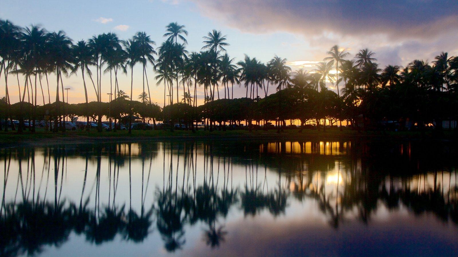 Ala Moana Beach Park showing a sunset and general coastal views
