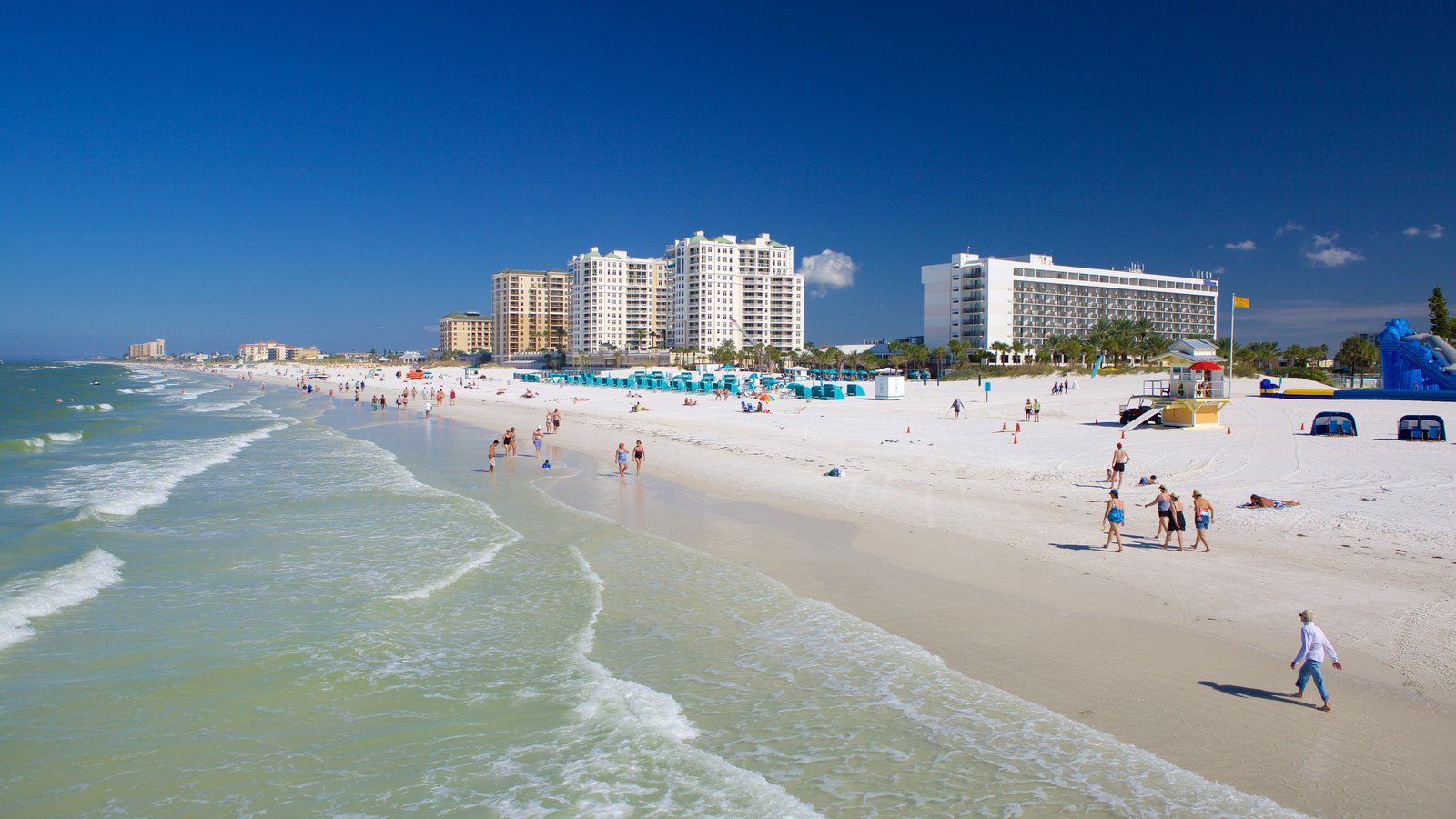 Clearwater Beach showing a coastal town and a sandy beach