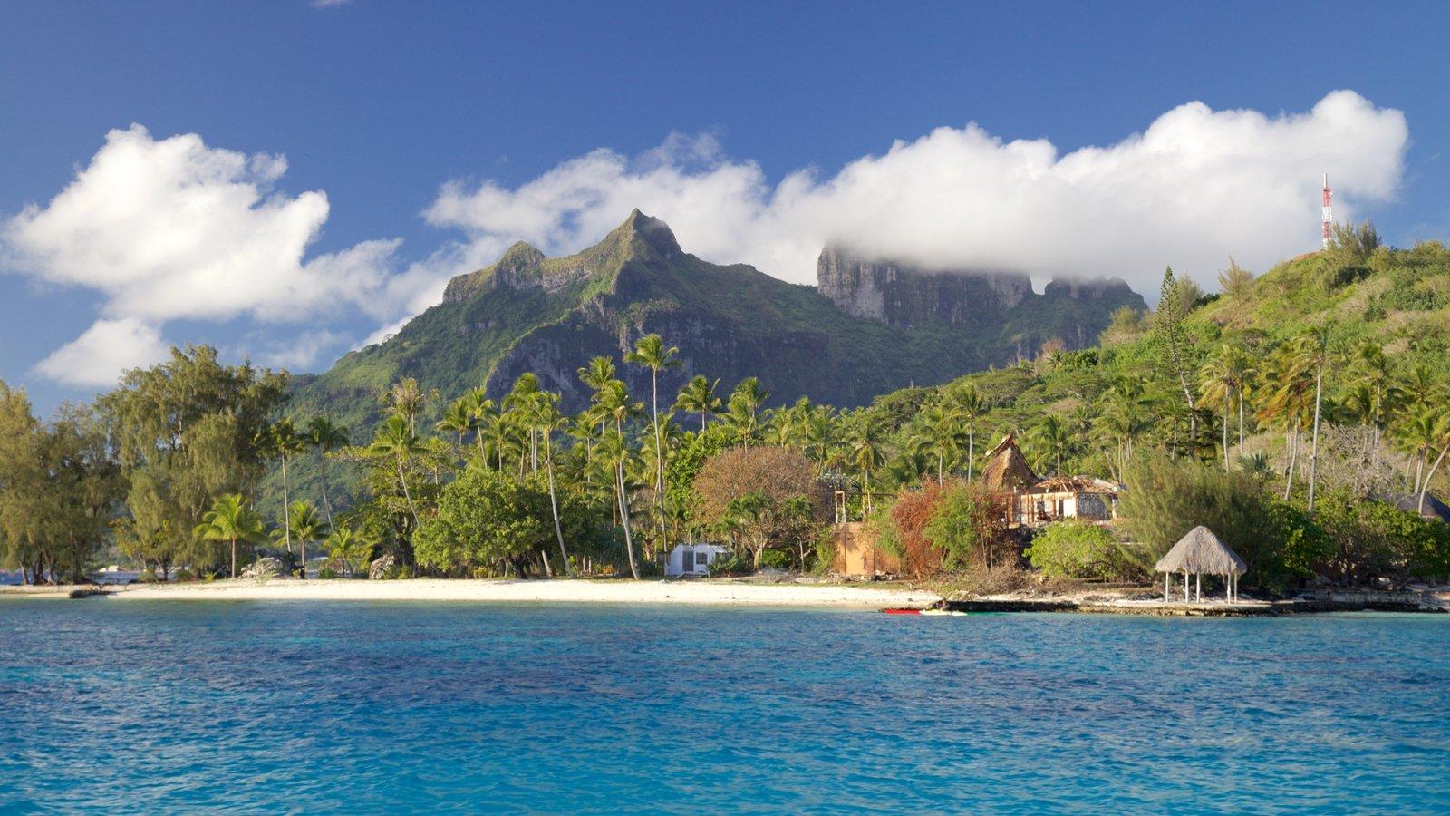 Bora Bora showing general coastal views, landscape views and a beach