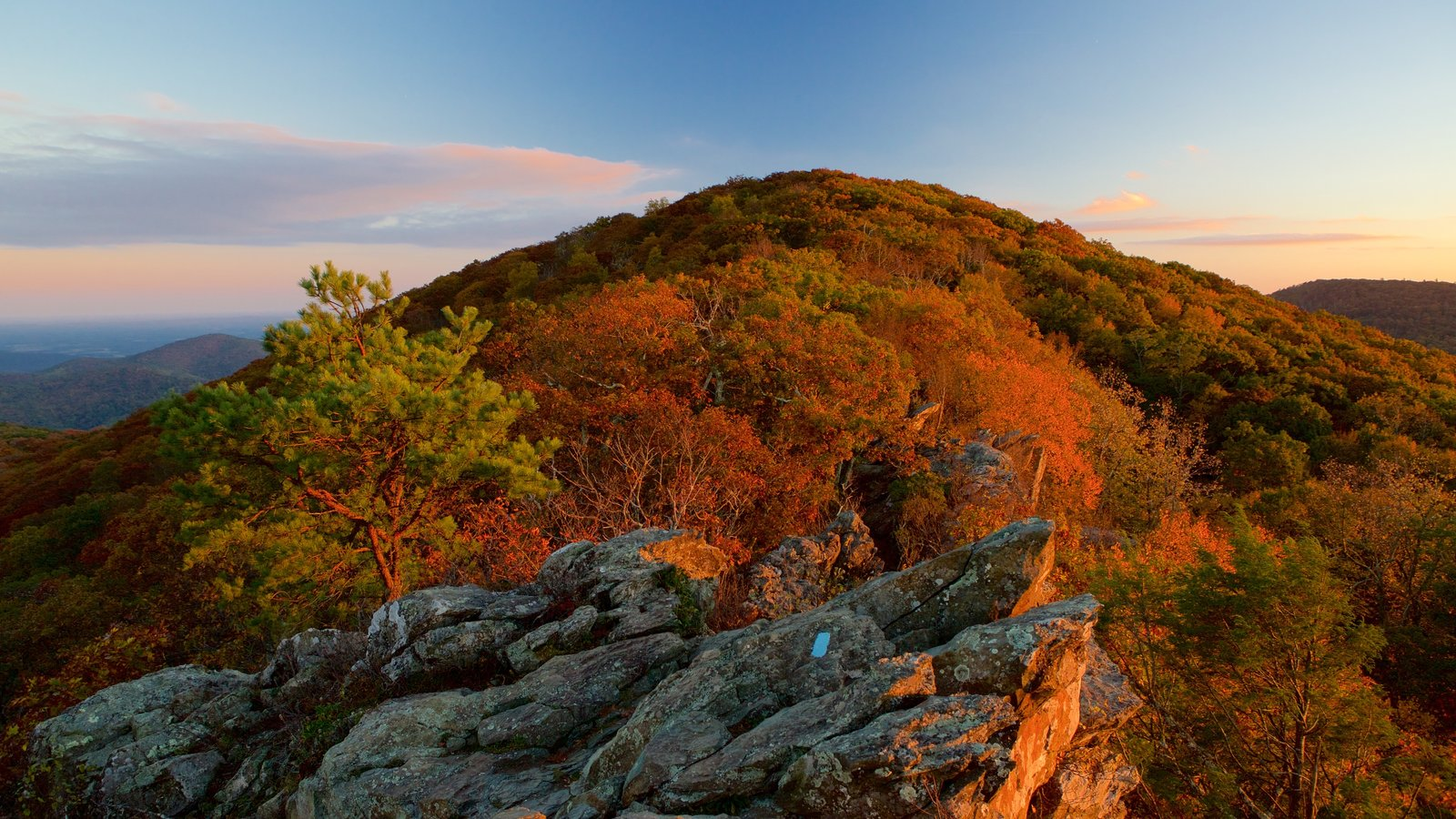 Shenandoah National Park featuring forests, mountains and a sunset
