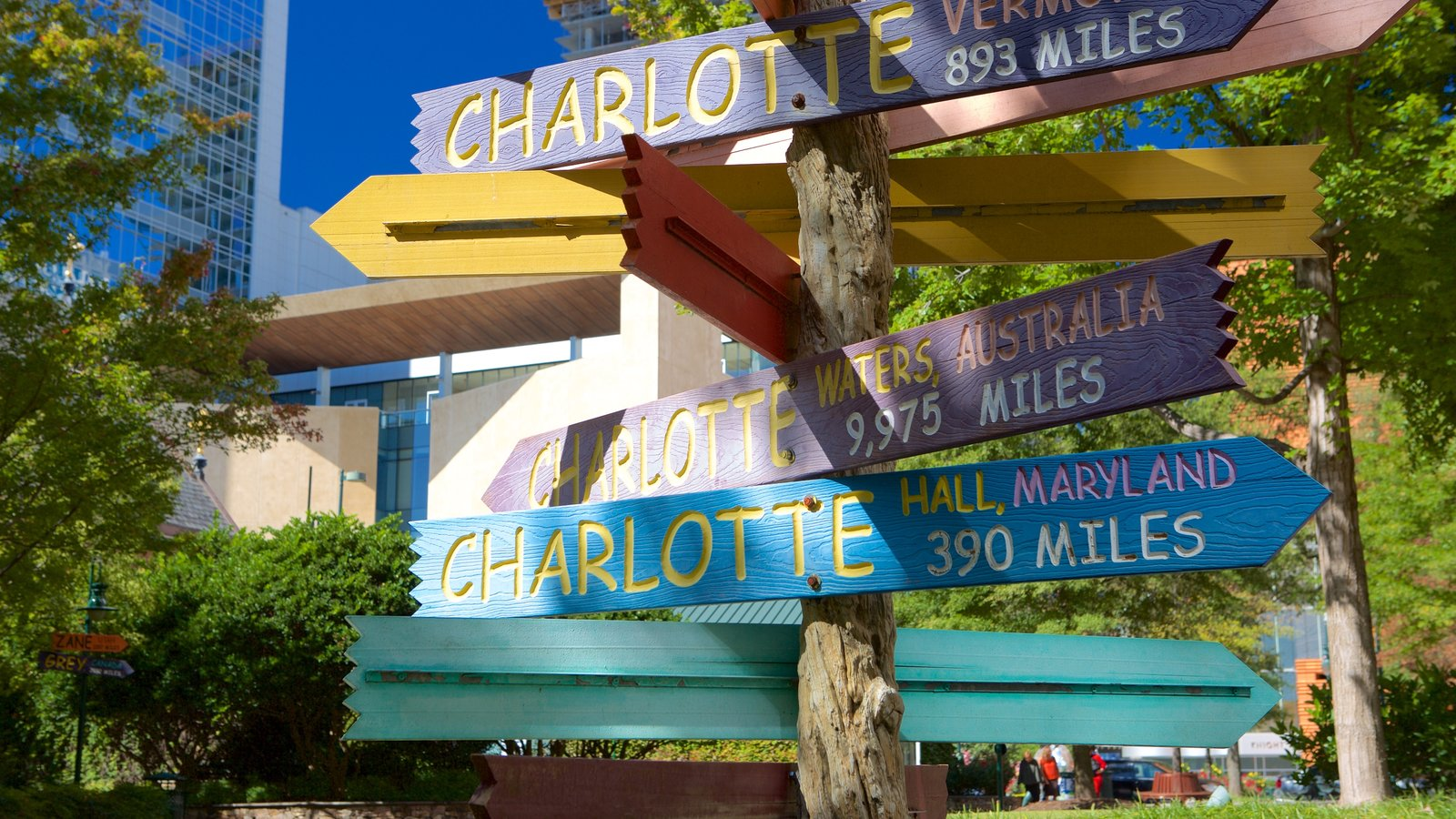 Charlotte which includes outdoor art, a park and signage