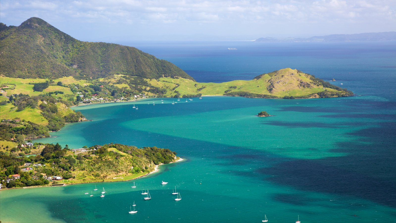 Mount Manaia which includes a bay or harbor, a coastal town and mountains