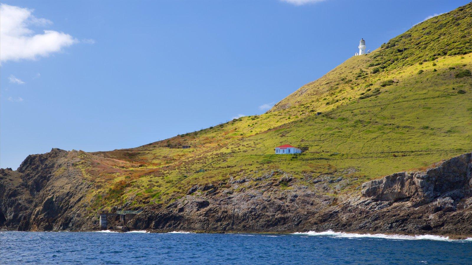 Cape Brett Lighthouse ofreciendo costa rocosa, un faro y una bahía o puerto
