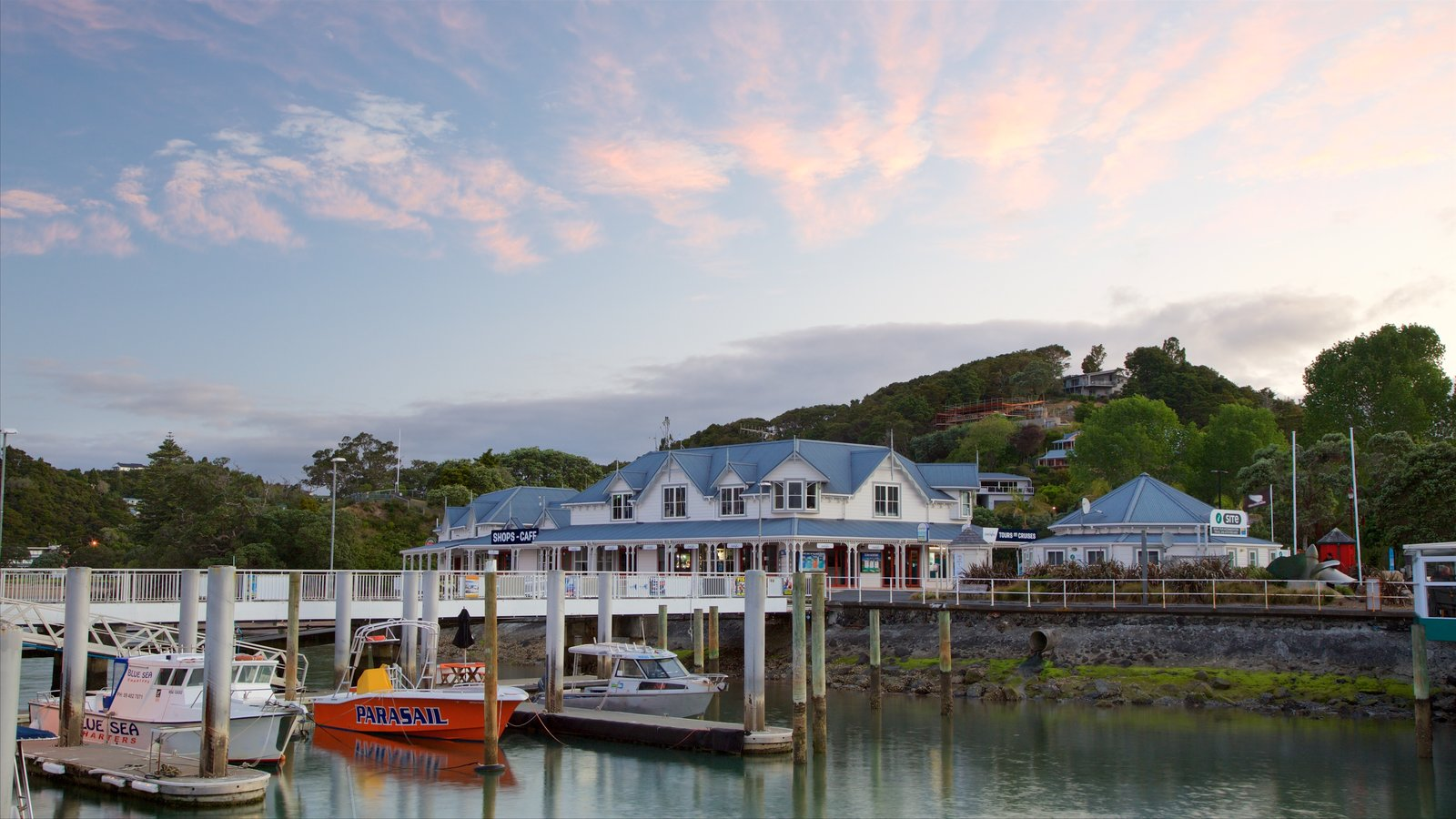 Paihia which includes a sunset, a marina and a bay or harbor