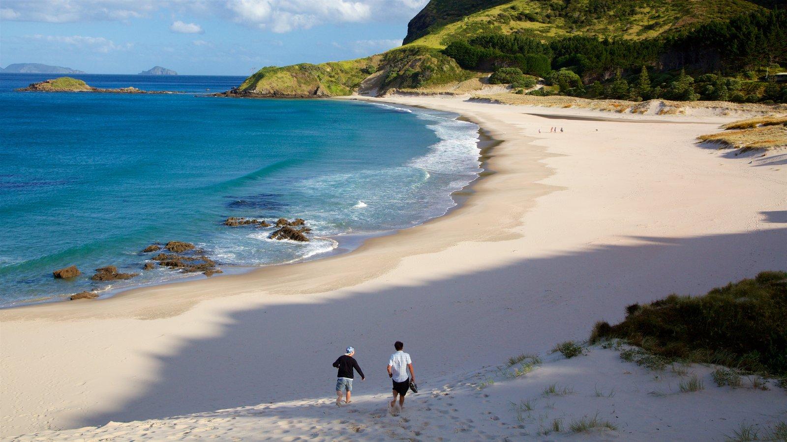 Ocean Beach which includes rocky coastline, a bay or harbor and a sandy beach