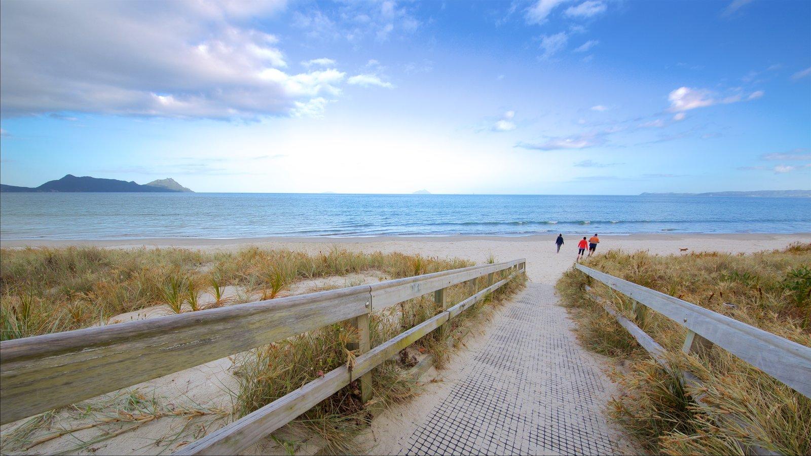 Whangarei Heads que incluye vistas generales de la costa y una playa y también un pequeño grupo de personas